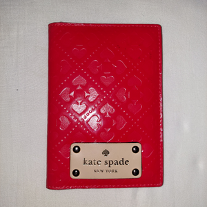 Kate Spade Red Passport Holder Cover Like New